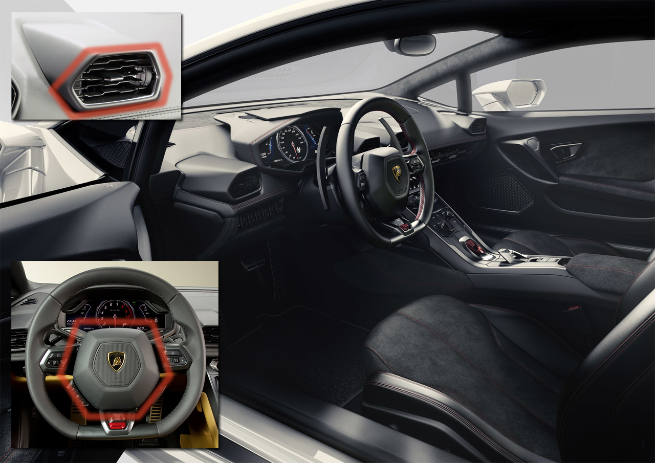 Lamborghini Huracan interior hexagon